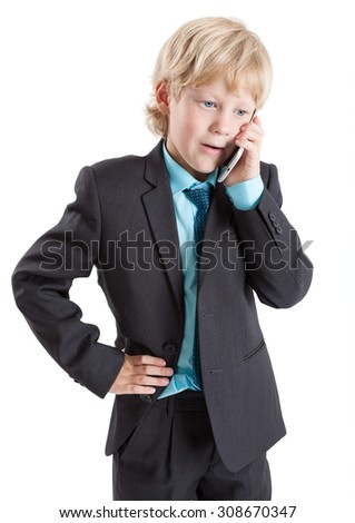 Young businessman in suit talking with mobile phone, isolated on white background - stock photo