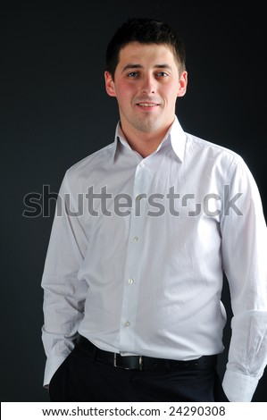 young businessman in white shirt - stock photo