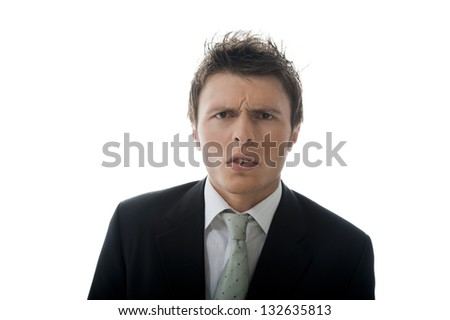 Young businessman is angry with the result. - stock photo
