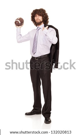 young businessman is ready to throw the ball isolated on white background - stock photo
