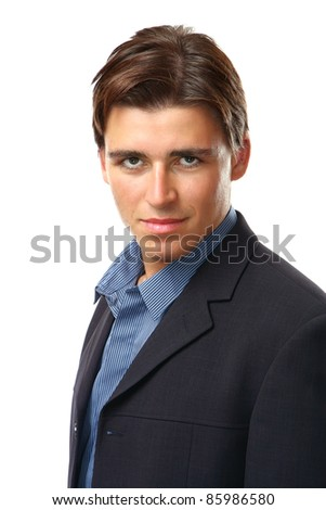 Young businessman isolated against white background - stock photo