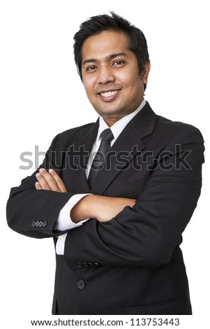 Young businessman  isolated on white background - stock photo