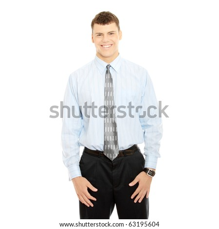 Young businessman, isolated on white background - stock photo