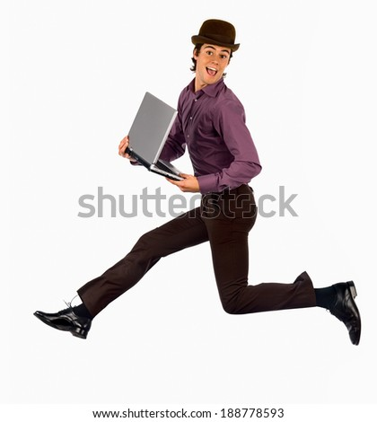 Young businessman jumping. - stock photo