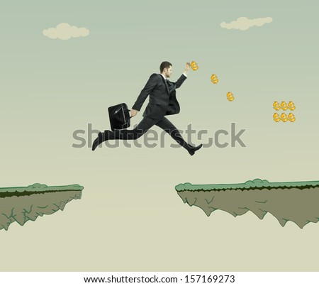 young businessman jumping at drawing rock - stock photo