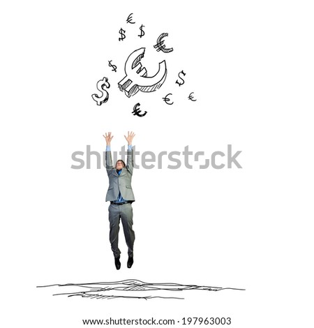 Young businessman jumping to catch euro symbols. Currency concept - stock photo