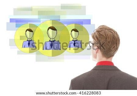 Young businessman looking at virtual friends isolated on white background - stock photo