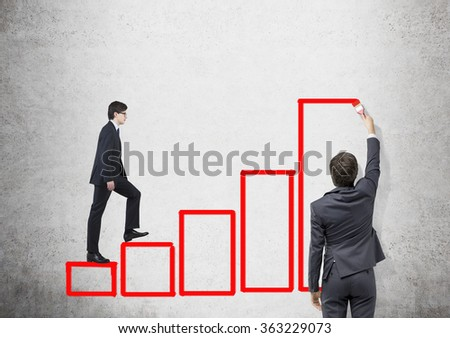 Young businessman painting black stairs with a brush. Young woman ascending it.  Concrete background. Concept of career growth. - stock photo
