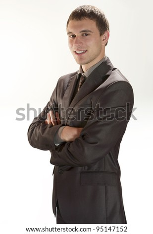 Young Businessman Portrait - Isolated - stock photo