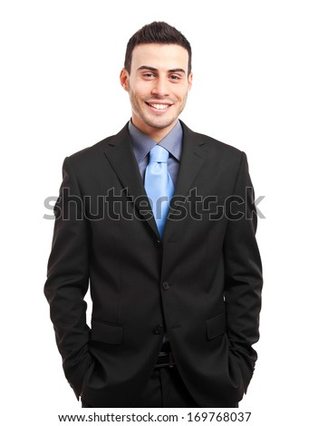 Young businessman portrait isolated on white - stock photo