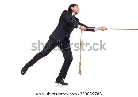 Young businessman pulling rope isolated on white - stock photo