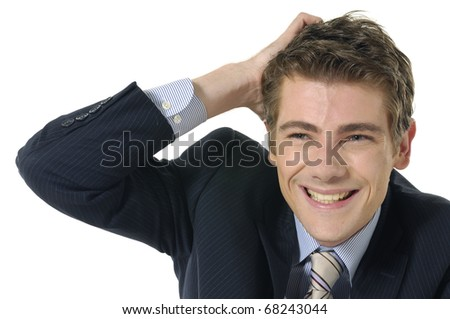 Young businessman put hand on head - stock photo
