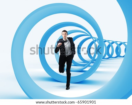 young businessman running in a 3d spiral - stock photo