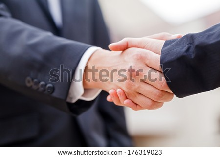 Young businessman shaking hands with his partner - stock photo