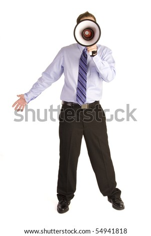 Young businessman shouting into a megaphone on white. - stock photo