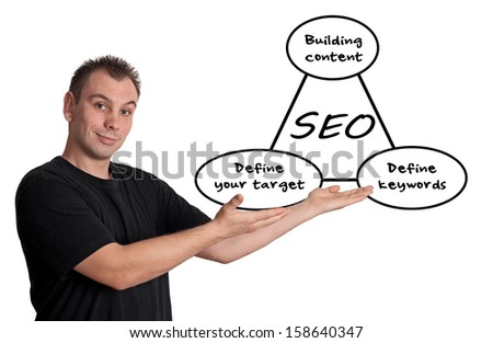 Young businessman showing SEO process information concept. Isolated on white. - stock photo