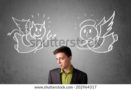 Young businessman standing between the angel and the devil drawings - stock photo