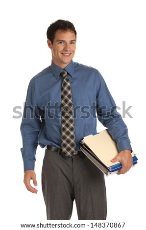 Young Businessman Standing Smiling Holding Business Documents Folder  on Isolate White Background - stock photo