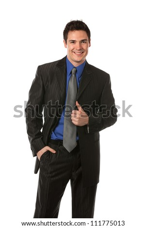 Young Businessman Standing Smiling on Isolate White Background - stock photo