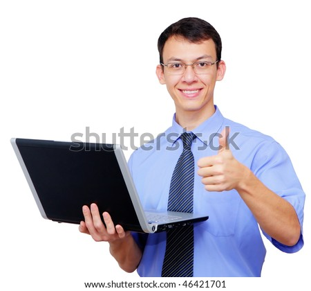 young businessman/student with a laptop and thumb up - stock photo