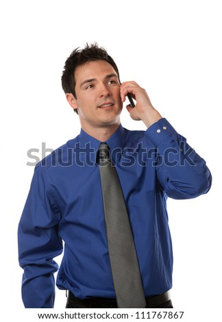 Young Businessman Talking over Cell Phone on Isolated White Background Smiling - stock photo