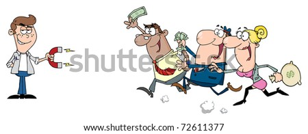 Young Businessman Using A Magnet Attracts People With Money - stock photo