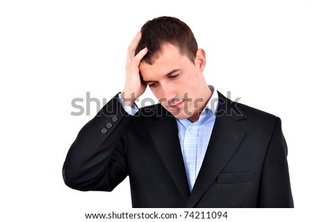 Young businessman with a big headache or problem, isolated on white - stock photo