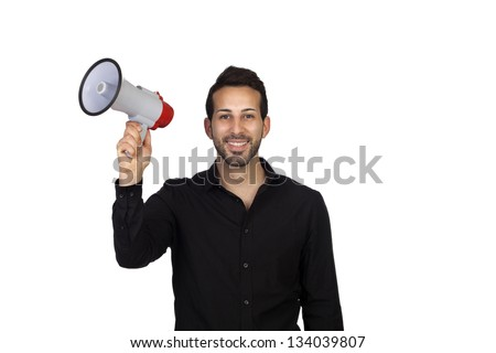 Young businessman with a Megaphone proclaiming something isolated on white background - stock photo
