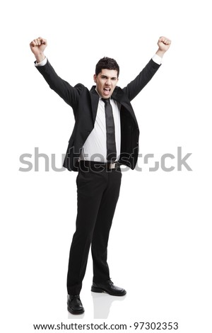 Young businessman with arms up isolated over a white background - stock photo