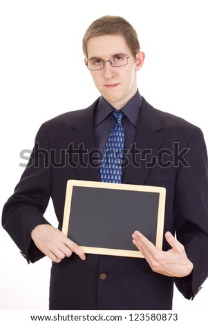 Young businessman with blackboard - stock photo