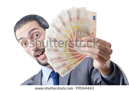 Young businessman with euro on white - stock photo