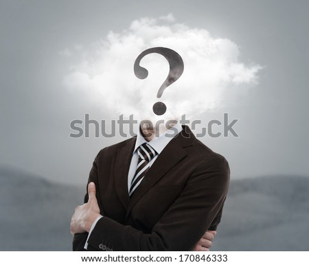 Young businessman with head in the clouds and question mark - stock photo