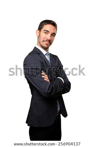 Young businessman with satisfaction gesture - stock photo