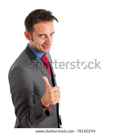 Young businessman with thumbs up isolated on white - stock photo