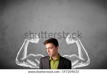 Young businessman wondering with sketched strong and muscled arms - stock photo