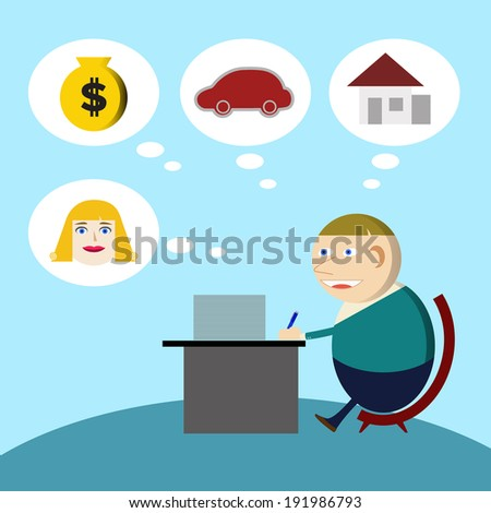 Young businessman Working hard for the money - stock photo