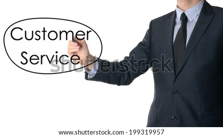 Young businessman writing Customer service on white background  - stock photo