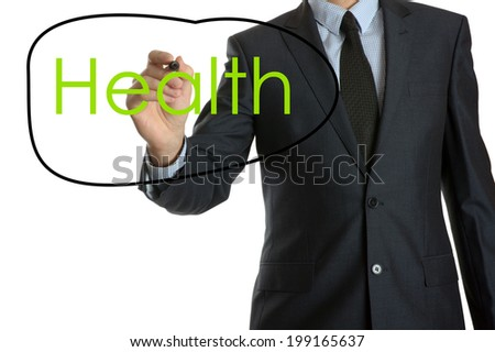 Young businessman writing Health - stock photo