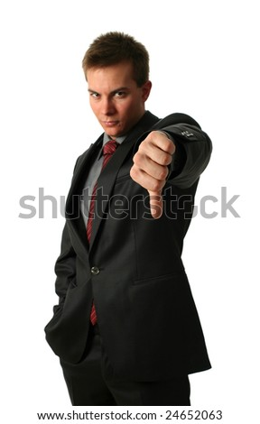 Young Businessmen making his thumb down isolated on white. Hand in focus - stock photo