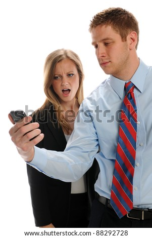 Young Businesspeople with cell phone isolated on a white background - stock photo