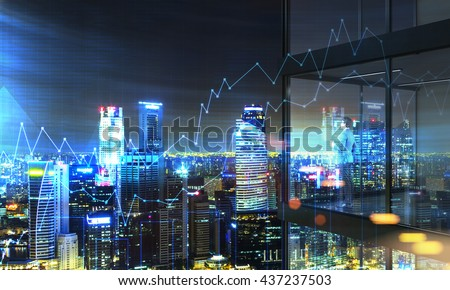 Young businessperson with coffee cup in hand standing on panoramic balcony with Singapore city view and business chart at night. 3D Rendering - stock photo