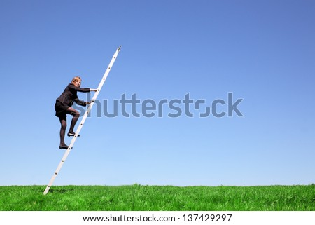 Young businesswoman climbs a ladder on green meadow and blue sky - stock photo
