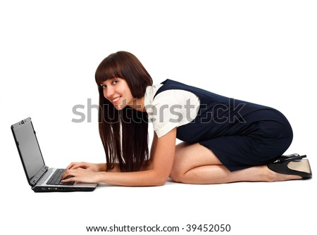 young businesswoman computing studio shot on white - stock photo