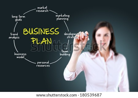 Young businesswoman drawing business plan concept. - stock photo