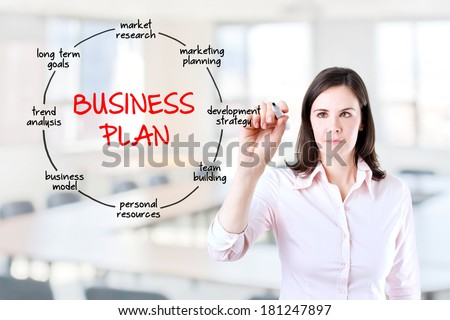 Young businesswoman drawing business plan concept. Office background. - stock photo