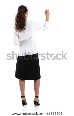 Young businesswoman drawing something, copyspace for the designer - stock photo