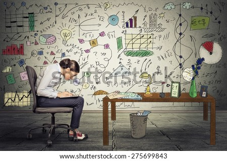 Young businesswoman executive working on laptop in office. Corporate investment consultant analyzing company annual financial report balance sheet statement documents graphs. Economy concept  - stock photo