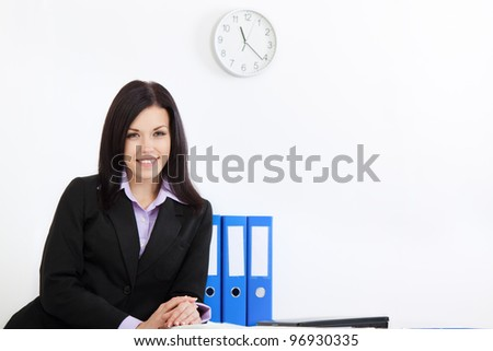 young businesswoman happy smile at desk office, business woman wear elegant suit looking at camera - stock photo