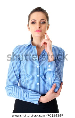 young businesswoman hold her finger at her chin, hard decision, studio shoot isolated on white - stock photo