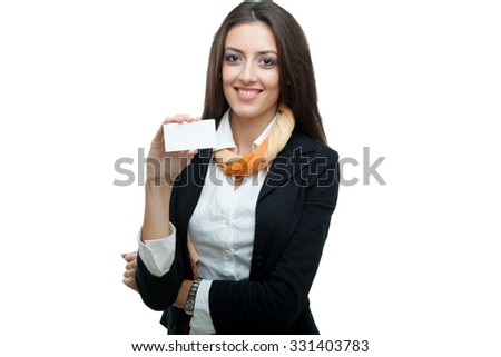 Young businesswoman holding a blank card - stock photo